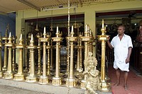 Brass oil lamps shop at Mannar, Kerala, India