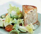 Pork pie with salad UK
