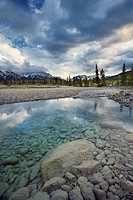 The North Saskatchewan River at the Kootenay Plains in spring, Bighorn Wildland, Alberta, Canada