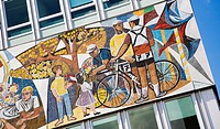 Mosaic on a house wall, Alexanderplatz Square, Berlin, Germany, Europe