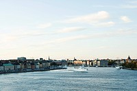 Sweden, Sodermanland, Stockholm, cruise ship crossing canal