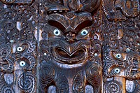 Maori wood carving, North Island, New Zealand