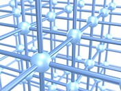 Three dimensional grid construction out of blue metallic spheres and rods, 3D illustration, concept symbolizing networks, interconnectedness, construc...