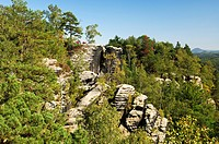 Rugged rocks near Rathen, Nationalpark Saxon Switzerland, Saxony, Germany, Europe