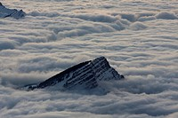 Fog surrounding the peak of Mt Stockberg, Canton of St Gallen, Switzerland, Europe