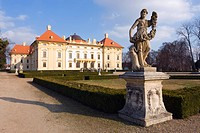 Statue and chateau in Slavkov u Brna, in German Austerlitz, South Moravia, Czech Republic, Europe