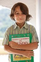 Boy, smiling, book, holding, portrait, ,