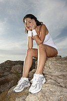 Woman, Sitting, athletic, rocks, exhausting, ,