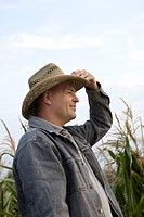 portrait of farmer wearing hat