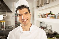 Middle Eastern male chef in kitchen