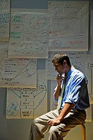 Hispanic businessman brainstorming near flip chart sheets