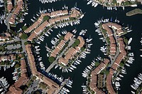Aerial view of boats at port, Laguna, Port Grimaud, Provence_Alpes_Cote d´Azur, France