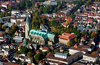 Aerial view of church in city, St. Liborius Church, Paderborn, North Rhine_Westphalia, Germany