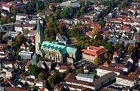 Aerial view of church in city, St. Liborius Church, Paderborn, North Rhine_Westphalia, Germany