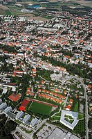 Aerial view of buildings in town, Fuerstenfeldbruck, Bavaria, Germany