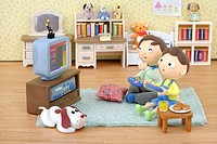 Illustration of fahter and son, watching TV