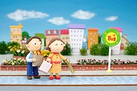 Illustration of couple at bus stop