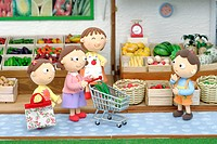Illustration of grandmother and mother shopping