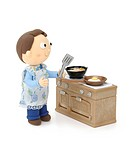 Illustration of father cooking