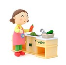 Illustration of housewife cooking