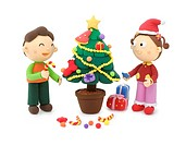 Illustration of kids, Christmas tree and Christmas gift