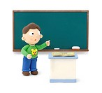 Illustration of a boy in front of the blackboard