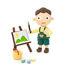 Illustration of a boy painting