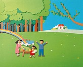 Paper Illustration Of Father, Mother And Child, Family Day Out