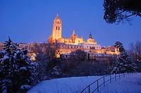 Night view of snow covered city. Segovia, Castilla Leon, Spain.