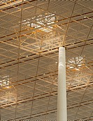 BEIJING CAPITAL INTERNATIONAL AIRPORT FOSTER AND PARTNERS AIRSIDE YELLOW ROOF AND CONCRETE COLUMNS