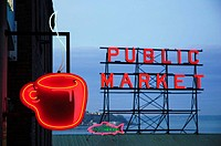 The marquee at Pikes Place Market Seatle, Washington, United States