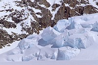 Winter scene and the Ruth Glacier with crevasses and seracs in the Ruth Gorge in Alaska