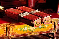 Ancient Tibetan buddhist books at Likir monastery  Ladakh, India