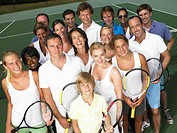 Group of people on tennis court