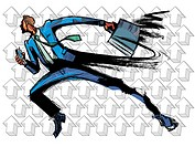 Side view of businessman running with briefcase