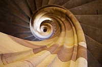 Spiral stairs or corkscrew stairs, made from sandstone, Renaissance building, Sélestat, Alsace, France