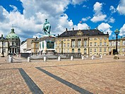 View over the Palace Square to the Statue of Frederick V. and the The Marble Church, Copenhagen, Hovedstaden, Zealand, Denmark