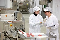 Researchers preparing vegetable-filled meatballs using food co-extrusion technology, pilot plant, AZTI-Tecnalia, Technology Centre for Marine and Food...