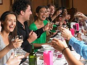 People toasting their glasses at dinner