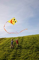 Two Boys fly a Kite