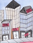 Conceptual illustration showing commercial real estate for sale
