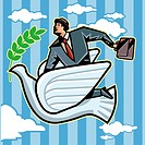 Side view of businessman holding briefcase flying on bird