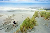 Walking on sand dunes Farewell Spit, New Zealand
