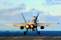 PACIFIC OCEAN (Feb. 25, 2009) An F/A-18C Hornet , assigned to the Sidewinders of Strike Fighter Squadron (VFA) 86, launches off the flight deck of the...