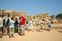 Tourists visiting the Ggantija Temples, Xaghra, Gozo, Malta