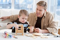 Father and son building wooden model
