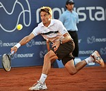 Vina del Mar Chile 7 February 2009 the Spanish tennis player Tommy Robredo kicks the ball during a tennis match against the argentine Jose Acasuso in ...