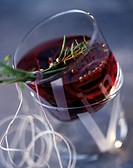 Glass of marinated red wine