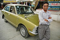Taxi driver and his car  Pokhara, Nepal