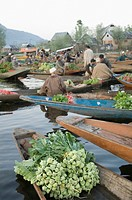 Group of people selling vegetables in boats, Dal Lake, Srinagar, Jammu and Kashmir, India
